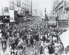 City of Norfolk, VA saved to Historic Norfolk, Virginia November 1, 1945...Armistice Day. Granby Street between College Place & Freemason Street.