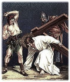 Third Station: Jesus Falls the First Time:  Consider, this first fall of Jesus under His cross. His flesh was torn by the scourges, His head crowned with thorns, and He had lost a great quantity of blood. He was so weakened that He could scarcely walk, and yet He had to carry this great load upon His shoulders. The soldiers struck Him rudely, and thus He fell several times in His journey.