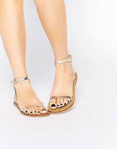 Buy ASOS FINLAY Leather Flat Sandals at ASOS. Get the latest trends with ASOS now. Gold Flat Sandals, Leather Sandals Flat, Leather Shoes, Shoes Sandals, Real Leather, Open Toe Shoes, Mode Style, Asos, New Shoes