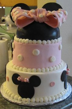 """Minnie Mouse baby shower cake!  @Michel Lough , for your """"pinterest"""" baby shower I made you this cake!"""