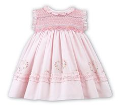 Sarah Louise Baby / Toddler Girls Pink Dress - Smocked Bodice - Flutter Sleeves - Embroidery Hearts