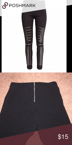 Black Studded Leggings SUPER COMFORTABLE! I've worn them a couple times, but moving somewhere warm and won't need them. 69% Rayon, 27% Nylon, 4% Spandex. Zipper in back, semi high waisted. Elastic waistband. Waist is 12.75 inches, inseam is 28 inches, thigh is about 9.5 inches. Studs are a dark silvery gray color. H&M Pants Leggings