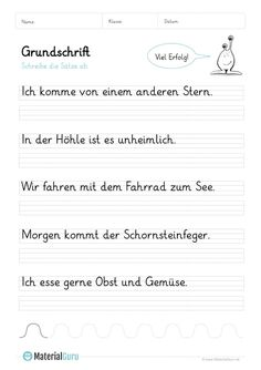 Grundschrift - MaterialGuru Writing Practice For Kids, Alphabet Writing Practice, Alphabet Worksheets, Kids Writing, All Vitamins, German Language Learning, 3rd Grade Reading, Primary School, Kids Learning