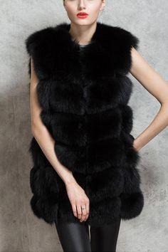 Black Dyed Artificial Fox Fur Vest - US$37.95 -YOINS
