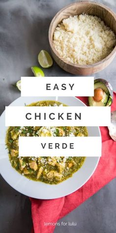 This skillet Chicken Verde made with fresh tomatillos and poblano peppers! The vegetables are roasted to bring out their smoky flavor. This Tex-Mex inspired dish is easy enough for any night of the week Chicken Verde, Mexican Food Recipes, Mexican Meals, Stuffed Poblano Peppers, Skillet Chicken, Tex Mex, Healthy Salads, Yummy Snacks, Good Food