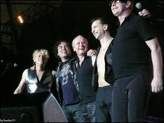 Depeche Mode saying thanks, including Peter Gordeno and Christian Eigner.