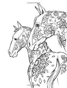 Flowers on horses drawing, horse sketch. Horse Coloring Pages, Printable Adult Coloring Pages, Coloring Pages To Print, Colouring Pages, Coloring Books, Mandala Coloring, Colorful Drawings, Colorful Pictures, Horse Sketch