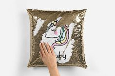 UNICORN reversable magical sequin  changing personalised Cushion #pillows #decor #cushion #afflink