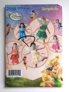Simplicity 2559 Sewing Pattern Disney Fairies Halloween Costume Girls 1 2 3 4