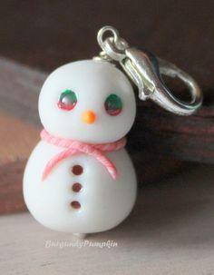 Glow in the dark snowman charm, handmade with polymer clay, snowman keychain, christmas keychain, christmas charms, cute clay charms