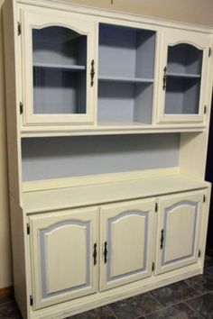 French Provincial Country Kitchen Hutch Display Cabinet, Shabby Chic Finish