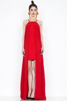 Artefact red-orange plunge neck maxi dress