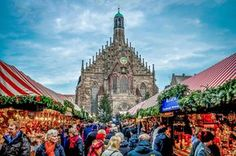 Shoppers fill the aisles of the Nuremberg, Germany Christmas Market