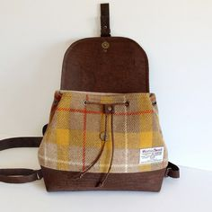 Cork and Harris Tweed Backpack / Yellow Tartan by MyCottonHouse
