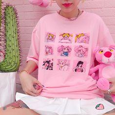 "Pink/white sailor moon cartoon printing t-shirt SE10244      Coupon code ""cutekawaii"" for 10% off"