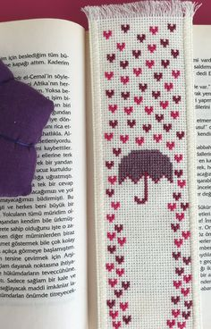 Rain of Hearts Handmade Cross Stitch Bookmark by TheCrossCosmos