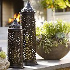 Shop Pottery Barn for hand crafted lanterns to light up any space. Our selection includes both indoor and outdoor lanterns in bronze, silver and wood finishes. Garden Lanterns, Metal Lanterns, Lanterns Decor, Candle Lanterns, Fairy Lanterns, Buffet, Outdoor Lighting, Outdoor Decor, Outdoor Spaces