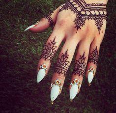Bohemian style henna hand tattoo w/ stiletto nails and daisy cuticles