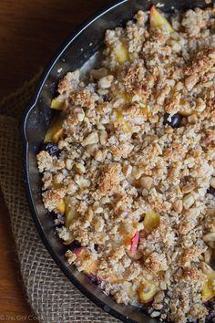 Blueberry Peach Coconut Crisp - This Gal Cooks #glutenfree #freshfruit #dessert
