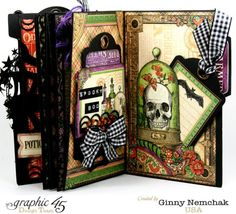 """Rare Oddities"" Mini Album + Snapguide tutorial by Ginny Nemchak for Graphic 45 - Wendy Schultz ~ Graphic 45 Projects. Halloween Mini Albums, Halloween Scrapbook, Halloween Cards, Christmas Scrapbook, Halloween Stuff, Graphic 45, Mini Scrapbook Albums, Scrapbook Paper Crafts, Paper Crafting"