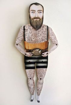 sir kyle, paper puppet, tattooed man