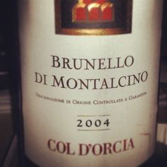 Another fabulous find from the cellar - 2004 Col D'orcia Brunello di Montalcino #tuscany  #brunello… http://instagram.com/p/ZLtppHEDGF/