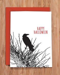 halloween card / raven by ModernPrintedMatter on Etsy