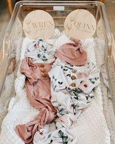 Shop the cutest knotted gowns swaddles maternity robes and baby name signs! All ship fast! Twin Girl Names, Twin Baby Girls, Twin Babies, Kid Names, Baby Girl Birth Announcement, Baby Girl Announcement, Twin Baby Announcements, Baby Name List, Baby Name Signs