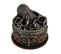 Decorative Bronze Finish Steampunk Octopus Trinket Box, Brown