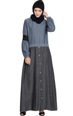 642de25e1c Description: Denim Skirt Chambray Top Lace Casual Abaya, Blue and Black,  Casual/