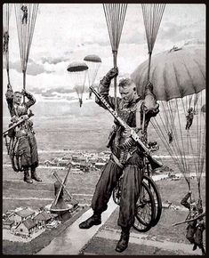 This artwork shows German paratroopers (Fallschirmjäger), as they descend into Holland during the invasion of the west in 1940. This work…