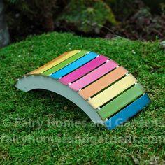 Gardening Diy - The miniature rainbow bridge will make the fairies in your garden happy. Made of metal with all weather paint. Kids Fairy Garden, Fairy Garden Furniture, Fairy Garden Houses, Gnome Garden, Fairy Houses Kids, Rainbow Garden, Fairy Crafts, Ideias Diy, Fairy Garden Accessories