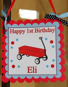 Little Red Wagon  Happy Birthday Door Sign in Red by SoCuteParties, $12.00