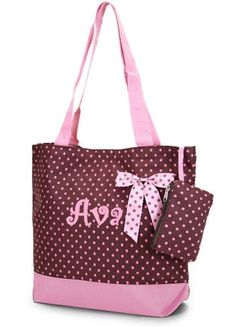 Personalized Tote Bag Brown Pink Polka Dots  by parsik93 on Etsy, $18.99