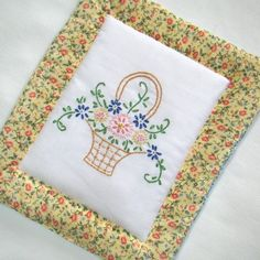 Flower Basket Pot Holder - Hand Embroidered With Vintage Pattern