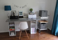 Combination DIY desk and bookcase. Simple and cheap IKEA hack