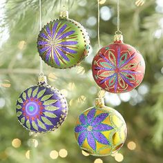 Glitter Flower Ball Ornaments | Crate and Barrel