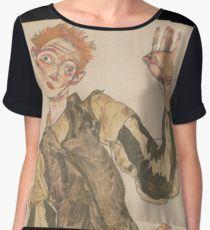 Egon Schiele - Self-Portrait with Striped Armlets 1915  Expressionism  Portrait Blusa