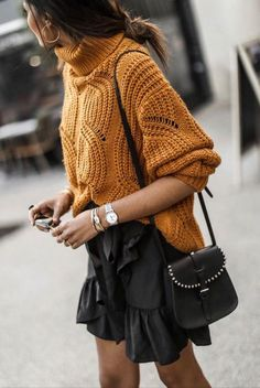 30 Amazing Outfits For Sweater Weather Days trendy outfit idea : high neck sweater ruffle skirt bag Plaid Fashion, Teen Fashion, Winter Fashion, Fashion Outfits, Fashion Trends, Fashion Lookbook, Fashion Styles, Spring Fashion, Fashion Ideas