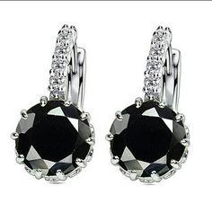 Black Topaz Huggie Earrings Silver Black Topaz Huggie Earrings  Price Firm Unless Bundle. Jewelry Earrings
