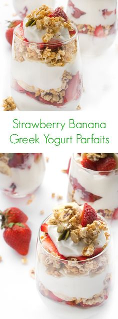 Strawberry Banana Greek Yogurt Parfaits - Easy to make and packed with over 18 grams of protein per serving to give you long-lasting energy!
