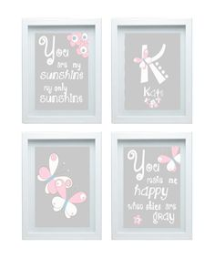 ON SALE  Art for Girls Room Pink and Gray by FMDesignStudio