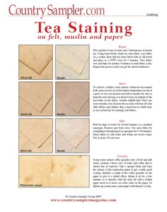 DIY Tea Staining Guide (Free PDF) Give paper, cotton fabric and wool felt a timeworn appearance with these handy tea-staining tips! Craft Tutorials, Craft Projects, Sewing Projects, Craft Ideas, Decorating Ideas, Fabric Crafts, Paper Crafts, Diy Crafts, Preschool Crafts