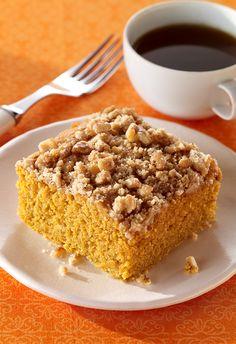 Fresh Ginger, Cinnamon and Pumpkin Crumb Cake is the best fall breakfast recipe.