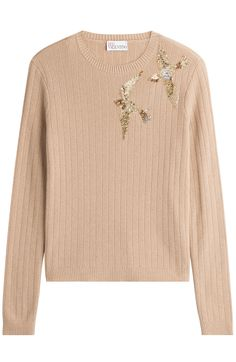 RED VALENTINO Ribbed Knit Pullover With Bird Embroidery. #redvalentino #cloth #scoop neck