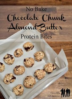 A treat with lots of protein,  keep me fuller, longer, with healthy fats and Chocolate?!? Sign me up! Grab the recipe for these gluten-free, clean eating No Bake Chocolate Chunk Almond Butter Protein Bites at heandsheeatclean.com #nobake #proteinbar # dessert #treat #cleaneating #recipe