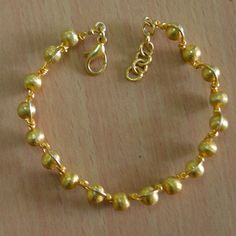 Gold plated beads bracelet & Beads Jewelry Metal Copper unique round beads  #Handmade