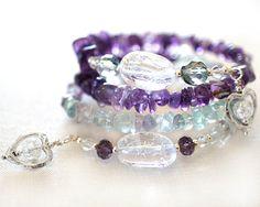 Amethyst Bracelet Fluorite Bracelet Crackle Quartz Wrap Bracelet Gemstone Sterling Silver Hearts Gift for girlfriend Gift idea for women by KapKaDesign on Etsy