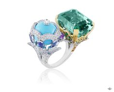 Les Ateliers Creations by Van Cleef & Arpels -Oiseaux Amoureux ring, Bals de Légende collection-White and yellow gold, round diamonds, yellow, pink and mauve sapphires, tsavorite garnets, one turquoise bead and one green emerald-cut tourmaline of 30.86 ...