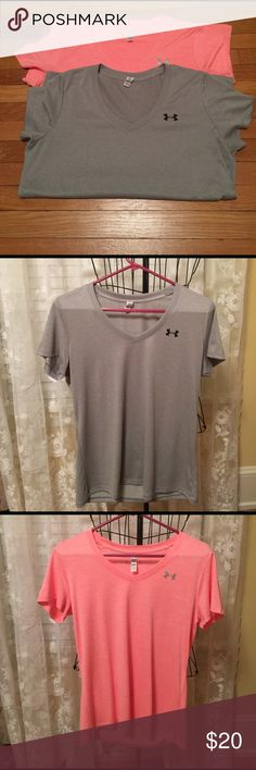 Ladies Under Armour loose fit V-neck Tee M These are the best T-shirt ever,    Must have for your workouts,  loose fit set of two size medium. Excellent condition! Under Armour Tops Tees - Short Sleeve